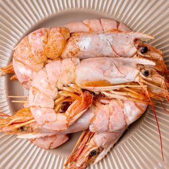 Close-up de carne deliciosa de camarão