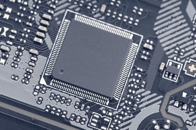 Close-up de circuitos eletrônicos no computador de tecnologia da placa-mãe mock up