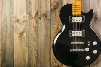Close-up, de, clássico, violão elétrico, ligado, tabela madeira