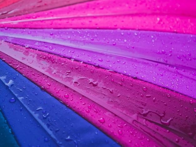Close-up, de, coloridos, guarda-chuvas, e, pingos chuva, vista superior