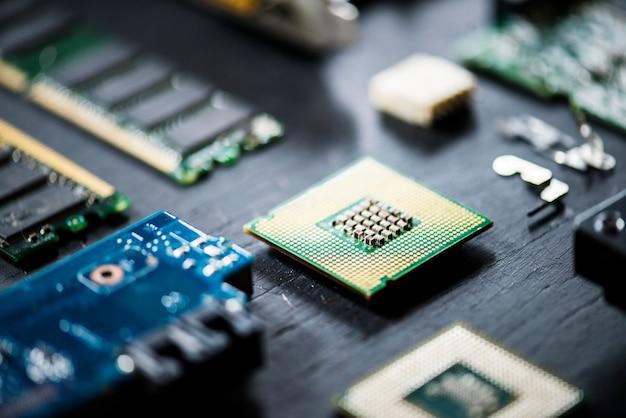 Close up de componentes de computadores eletrônicos