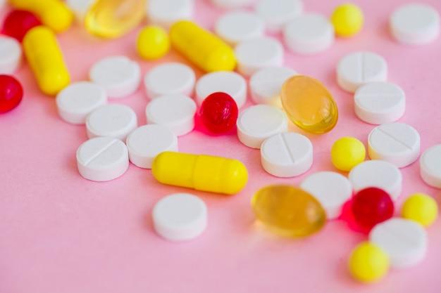 Close-up de comprimidos.