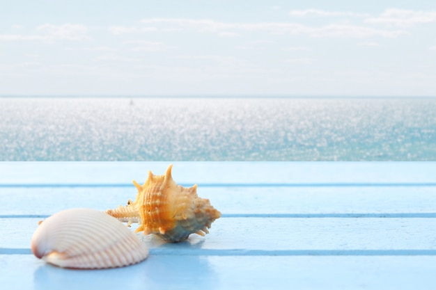 Close-up de conchas na mesa de madeira azul tem vista para o mar de desfoque para fundo