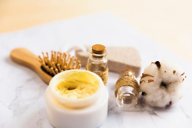 Close-up, de, cuidado corpo, massagem, produtos