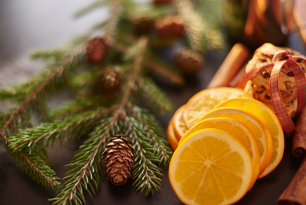 Close up de decoração orgânica de natal