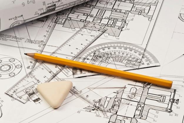 Close-up de desenho de engenharia