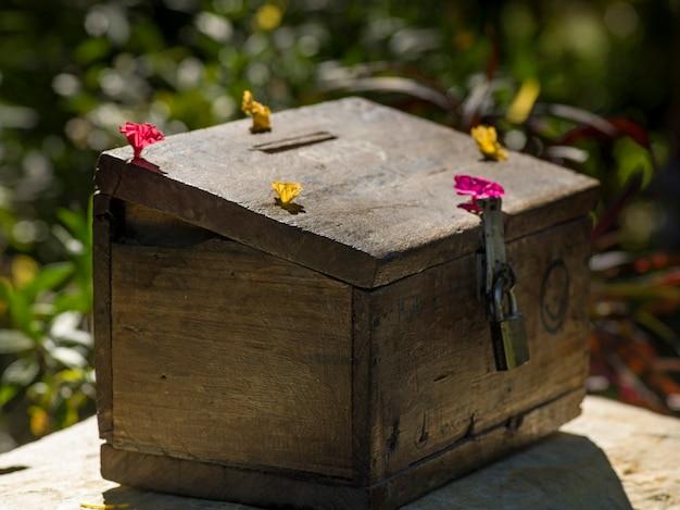 Close-up, de, doação, caixa, luang, prabang, laos