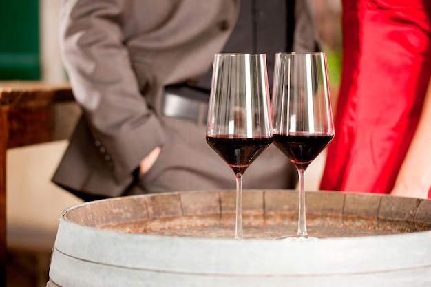 Close-up de dois copo de vinho