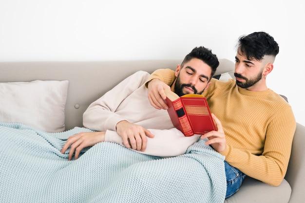 Close-up, de, dois, par homossexual, lendo livro, mentindo, sob, um, cobertor, ligado, sofá