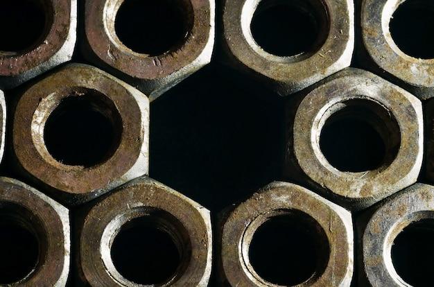 Close-up, de, enferrujado, nozes