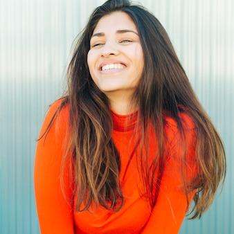 Close-up, de, feliz, mulher jovem