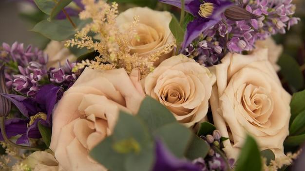 Close-up, de, flor bonita, buquê rosa