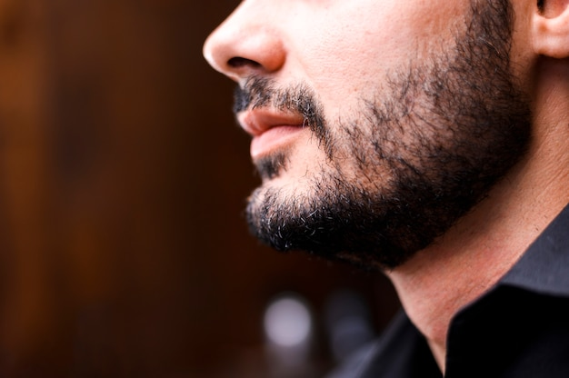 Close-up, de, freshly, aparado, barba
