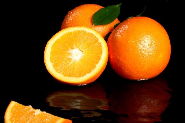 Close-up de frutas frescas de laranja