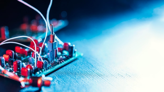 Close up de fundo de tecnologia de fios