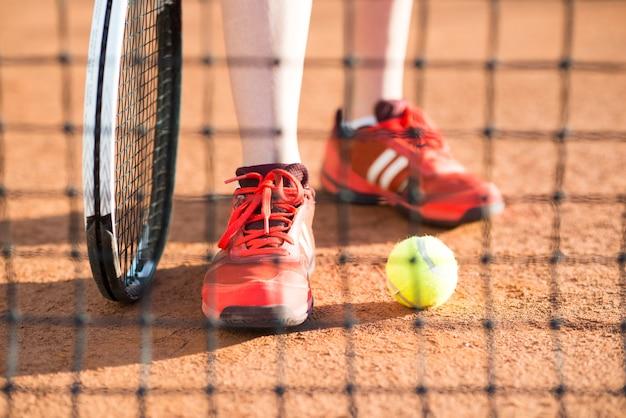 Close-up, de, jogador de tênis, pés
