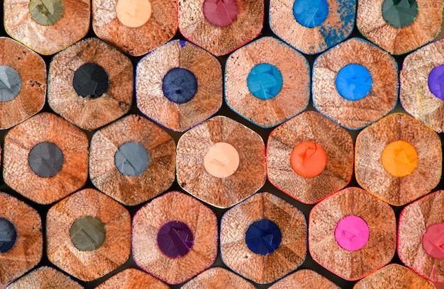 Close up de lápis de cor, material escolar