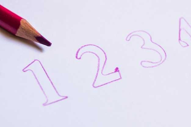 Close-up de lápis e números escritos