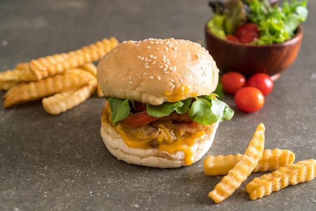Close-up, de, lar, feito, fresco, gostosa, hambúrguer