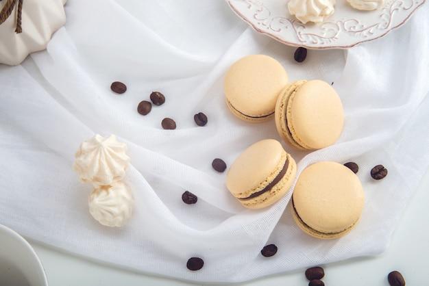 Close-up de macaroons delicados franceses