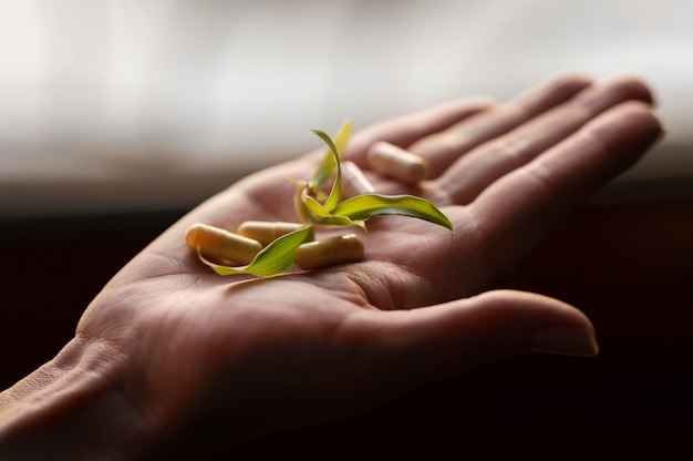 Close-up de mão segurando plantas e comprimidos