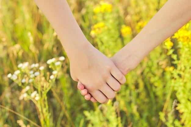 Close-up de mãos de crianças juntas, caminhando em um prado de verão