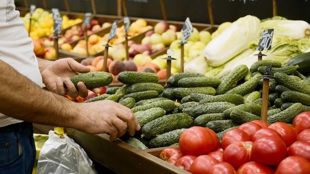 Close-up de mãos de mercearia arrumando pepinos orgânicos nas prateleiras das lojas