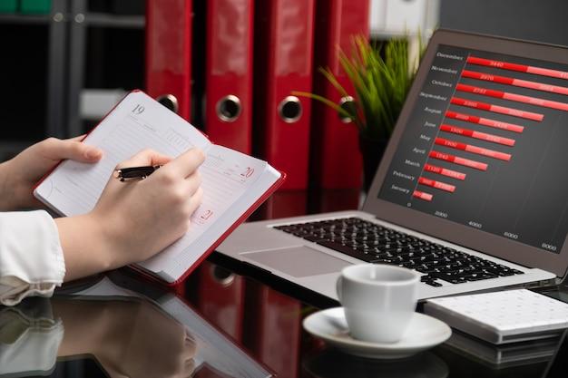 Close-up de mãos fazendo anotações no diário ao lado do computador tablet