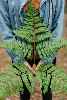 Close-up de mãos segurando uma folha de samambaia contra um fundo de floresta. menina com uma jaqueta jeans nas sombras profundas do conceito de moda da floresta