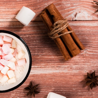 Close-up, de, marshmallow, bebida, e, canela