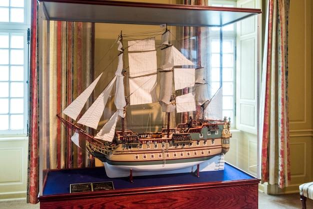 Close-up, de, modelo miniatura, de, veleiro, fortaleza, de, louisbourg, louisbourg, capa, breton, ilha,