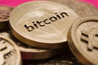 Close-up, de, muitos, bitcoins