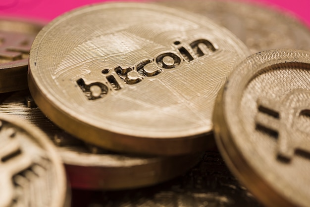 Close-up, de, muitos, bitcoins