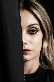Close-up, de, mulher, com, maquiagem