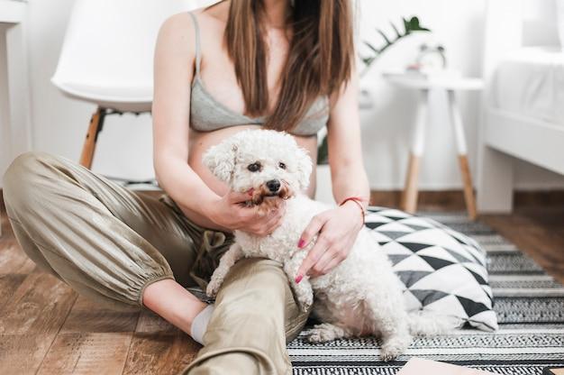 Close-up, de, mulher grávida, com, dela, encantador, brinquedo branco, poodle, sentar chão