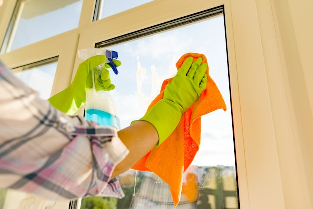Close-up, de, mulher, limpeza, janelas
