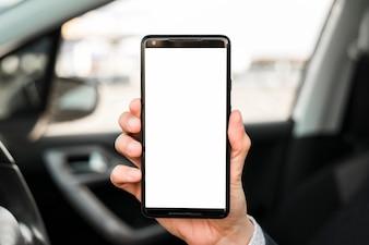 Close-up, de, passe, mostrando, telefone móvel, com, branca, tela, exposição