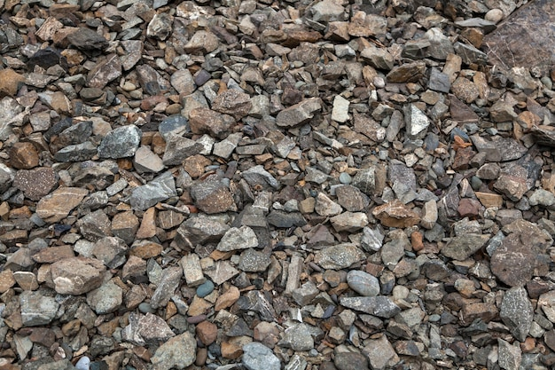 Close-up de pequenas pedras cinza perto do rio