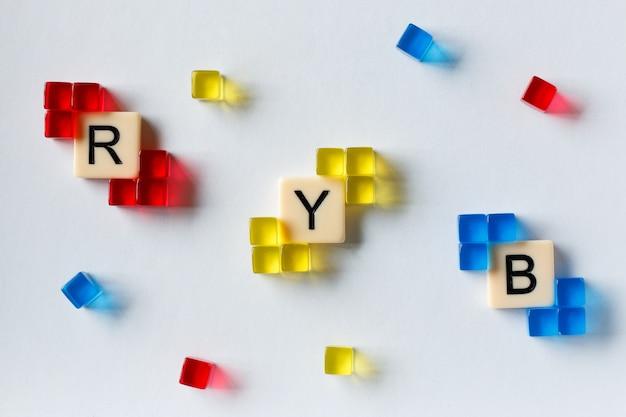 Close up de pequenos cristais quadrados vermelhos, azuis e amarelos demonstrando o modelo de cores ryb