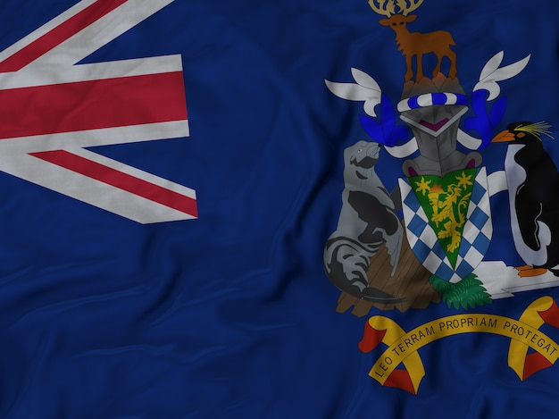 Close-up de ruffled geórgia do sul e a bandeira do sul sandwish island