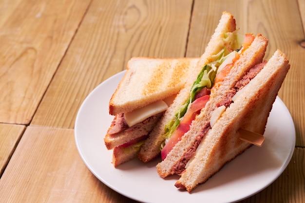Close-up de sanduíche fresco