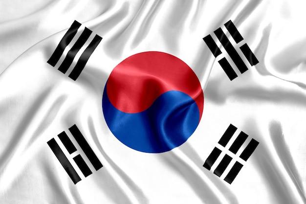 Close-up de seda da bandeira da coreia do sul