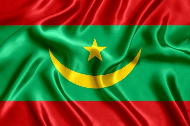 Close-up de seda da bandeira da mauritânia