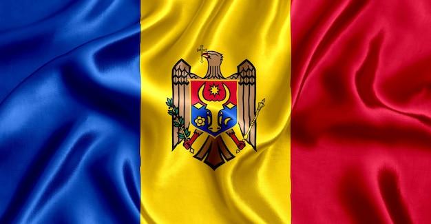 Close-up de seda da bandeira da moldávia