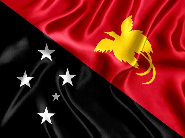 Close-up de seda da bandeira da papua nova guiné