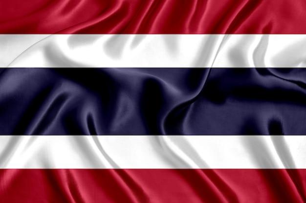 Close-up de seda da bandeira da tailândia