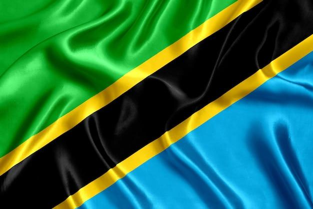 Close-up de seda da bandeira da tanzânia