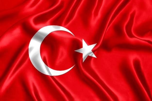 Close-up de seda da bandeira da turquia