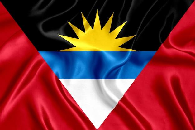 Close-up de seda da bandeira de antígua e barbuda