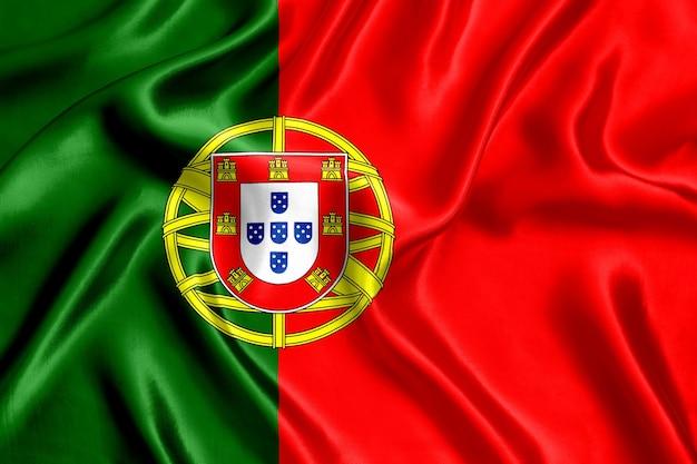 Close-up de seda da bandeira de portugal